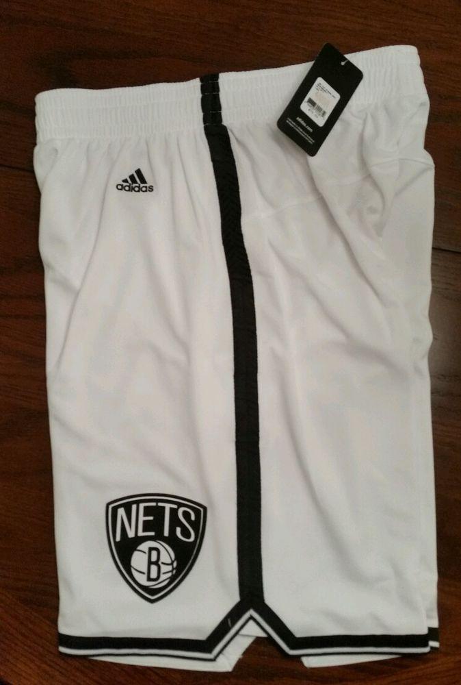 Mens New NBA adidas Brooklyn Nets White Swingman shorts Large FREE SHIPPING #adidas #BrooklynNets
