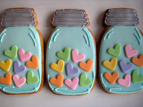 Hearts in mason jars~                          by sugarlily cookie, via Flickr, teal