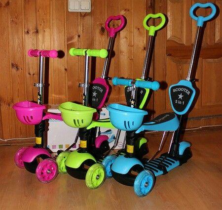 самокаты детские трёхколёсные с сиденьем scooter 5 в 1