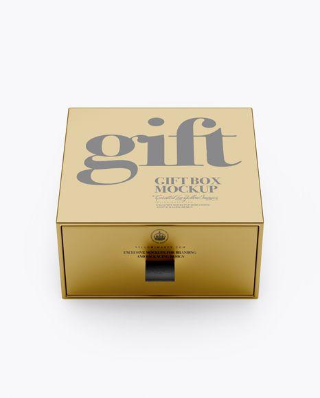 Metallic Gift Box Mockup (High-Angle Shot)