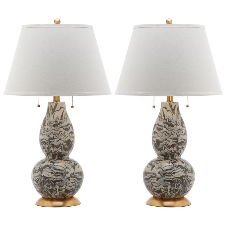 safavieh indoor 1light grey and white color swirls glass table lamp set of