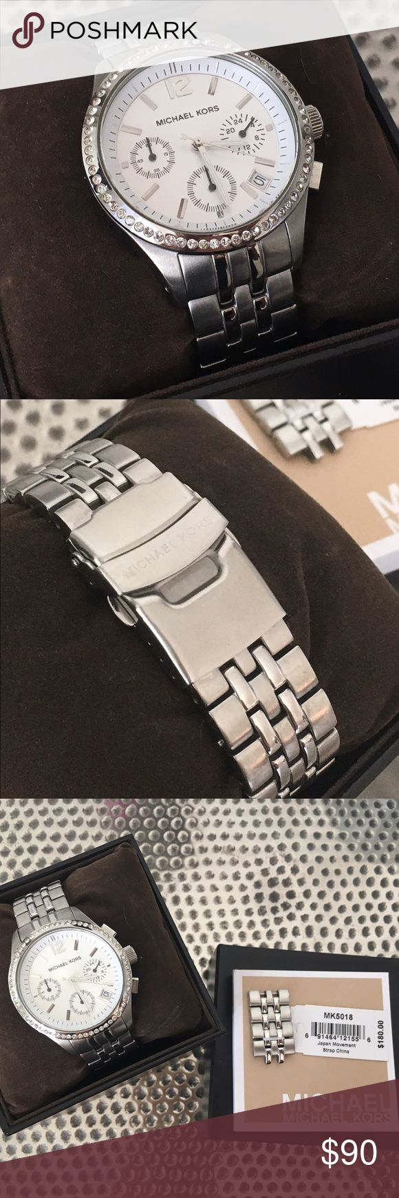 100% AUTHENTIC Michael Kors Watch 100% AUTHENTIC Silver Michael Kors Watch. New with all original packaging. Extra links included. Needs a new battery. Michael Kors Accessories Watches