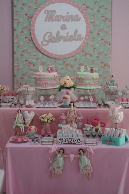 Tilda´s tea party dessert display!  See more party ideas at CatchMyParty.com!