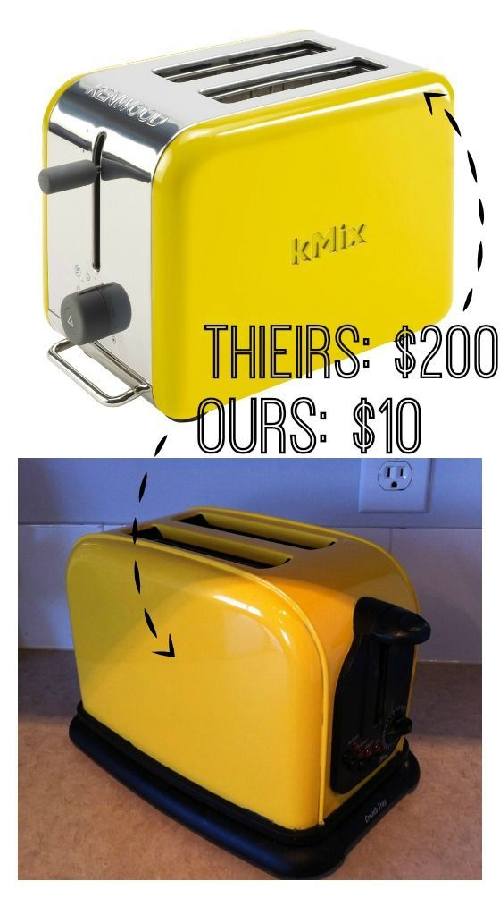How to Add Some Color To Your Kitchen - DIY Yellow Toaster.  Mask with my frog tape and give it a quick scuff with red brite. I then go to spraying. For about $10 buy a can of yellow (or the color you desire)engine enamel high heat spray paint.