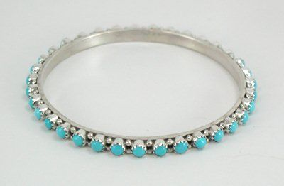 Hand made Native American Indian Jewelry; Navajo Sterling Silver and turquoise bangle bracelet by Shawna Yazzie