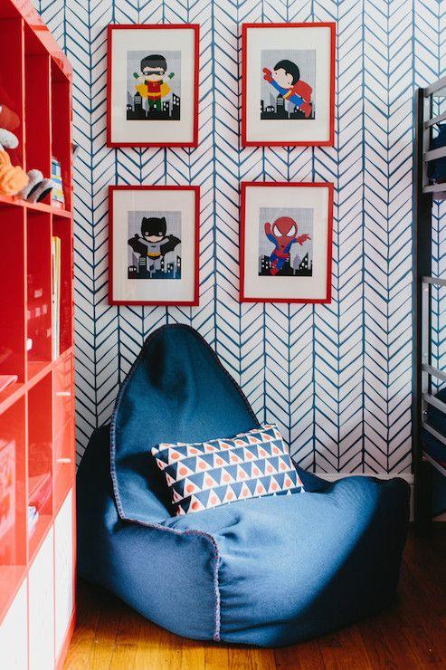 Navy Bean Bag Chair, Contemporary, boy's room, Colordrunk Design
