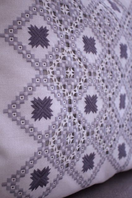 Maria Vergeles: WHITE HARDANGER PILLOW