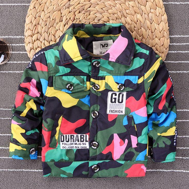 2017 New Fashion Autumn Boys Clothing Jacket Cotton Camouflage Tops Kids Girls Coat Jacket Casual Style Children Jacket Jk090 #Affiliate