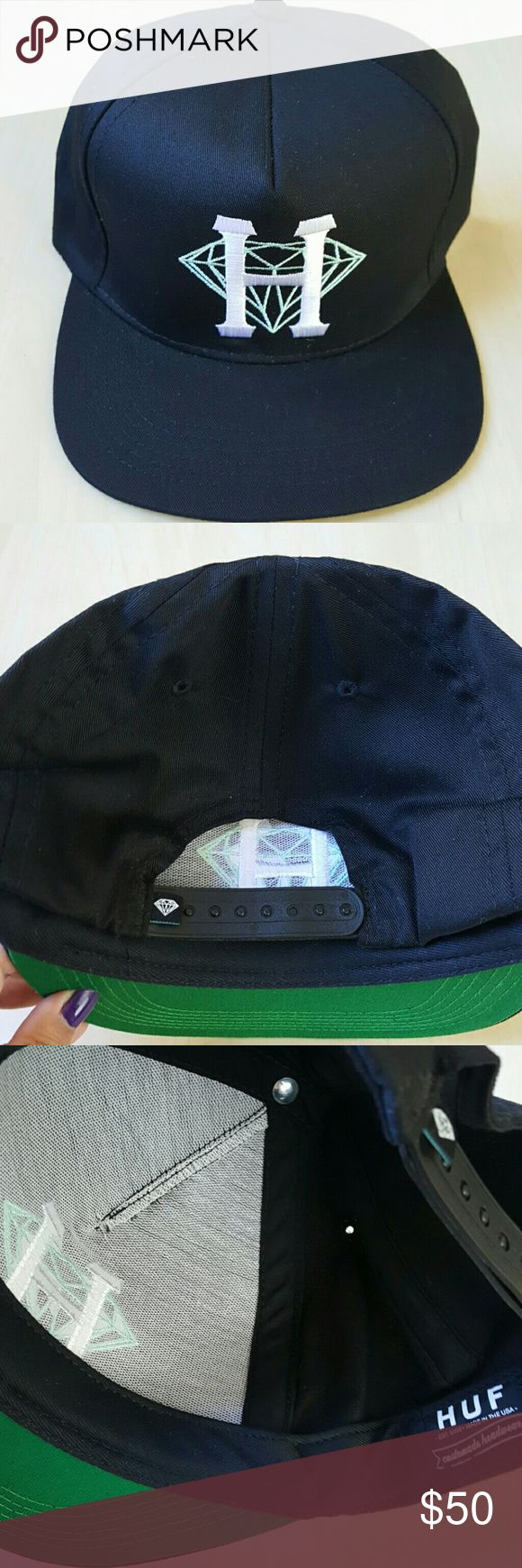 Diamond Supply Co x HUF snapback hat Condition: Worn once   × OPEN TO REASONABLE OFFERS  × NO LOWBALLING  × NO SALES OUTSIDE OF POSHMARK × NO TRADES  × SERIOUS INQUIRIES ONLY   × IF YOU FIND AN ITEM I'M SELLING CHEAPER SOMEWHERE ELSE, COOL, BUY IT THERE. NO NEED TO INFORM ME . IT'S NOT GOING TO MAKE ME CHANGE MY PRICE. THANKS. Diamond Supply Co. Accessories Hats