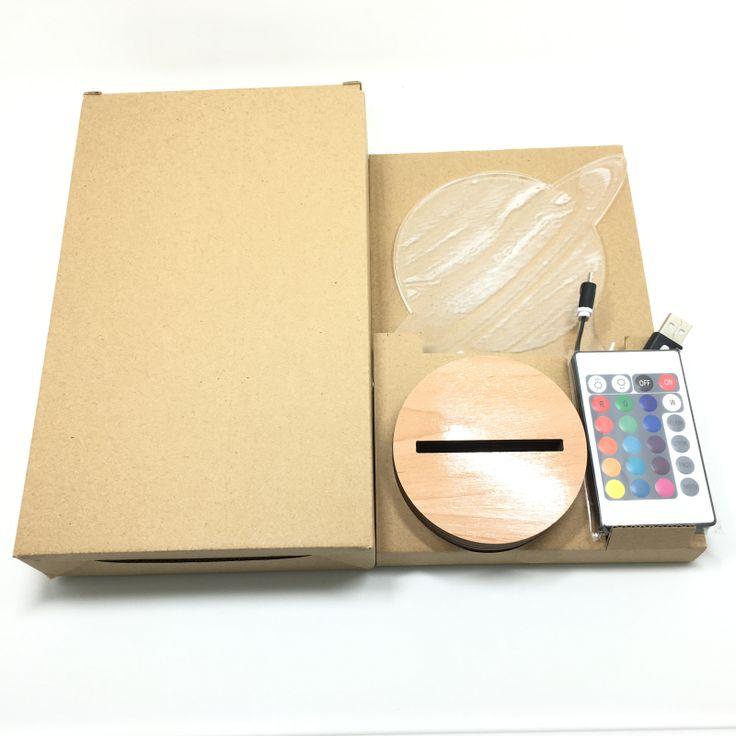 Бесплатная Доставка EMS Оптовая 50 Штук 3D Оптическая Иллюзия Планета Юпитер Bulbing Лампы Ночь Светодиодные Лампы С Пультом дистанционного управления
