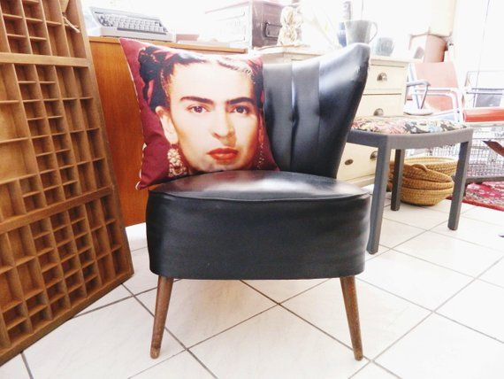 Cocktail Armchair Black Leatherette 50s Armchair 1950s Chair Mid Century Chair Vintage Armchair Black Cocktailsessel Sessel Schwarz Und Sessel
