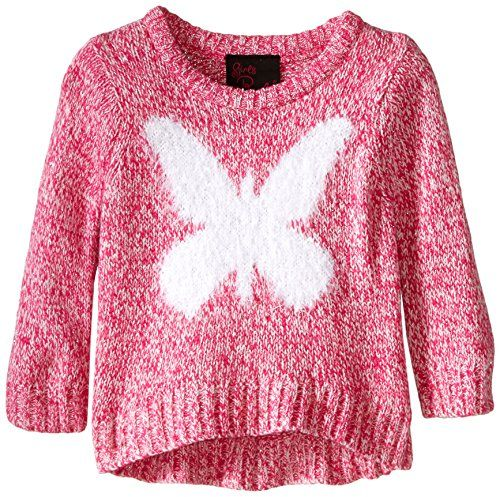 Girls Rule Little Girls' Large Butterfly Intarsia Sweater, Pink, 4T