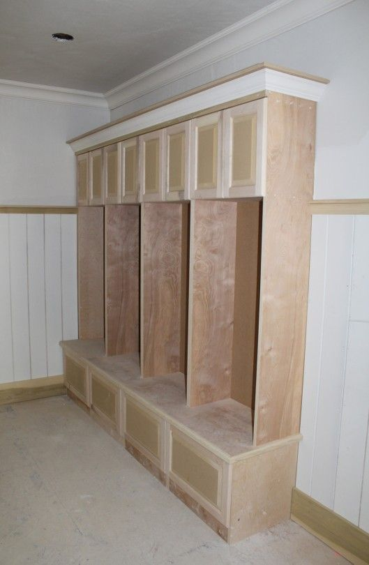 Wooden lockers for mudroom stunning locker cabinets for Entryway lockers with doors