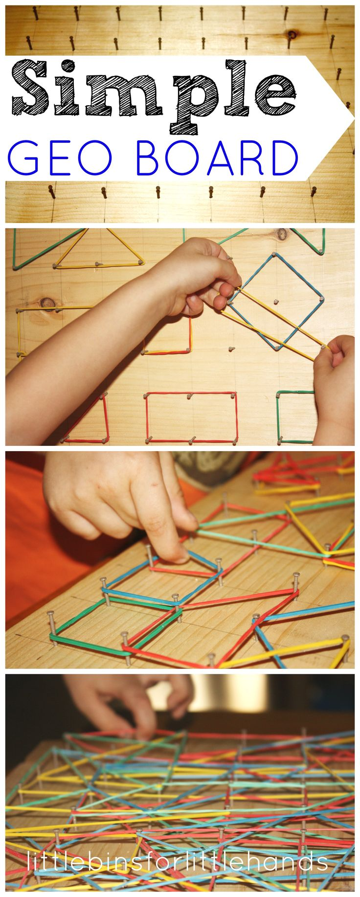 DIY Simple Geo Board   creative and fun way to practice fine motor skills! Why a geo board for fine motor skills? For the longest time, I have wanted to make Liam a geo board. We have explored a few at different children's museums in the past, and I have always kept it in the back of my ...
