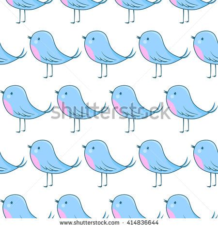 Seamless pattern with cartoon birds. Vector cute background.