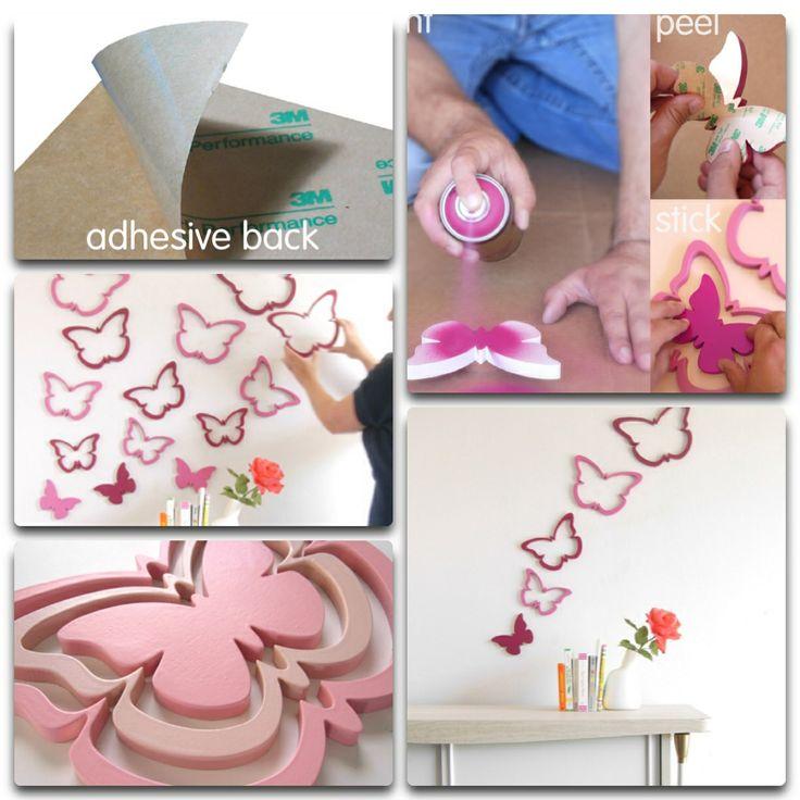 Muurdecoratie die je zelf in je favoriete kleur spuit. Ook hebben de vormen een handig 3M plaklaagje. Www.muurmetstijl.nl