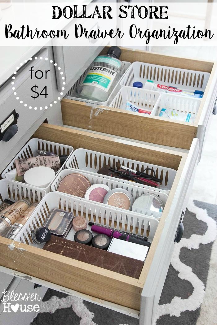 Learn how a few items from the local Dollar Store can change your bathroom drawer organization into a work of art!