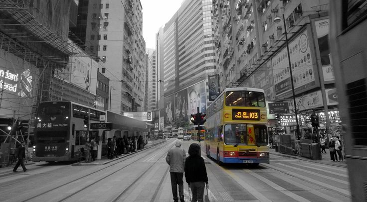 Public transportation is crucial for city growth - Agus Chang. A photoessay of Hong Kong in Monomat, a black and white photography medium by think archipelago.