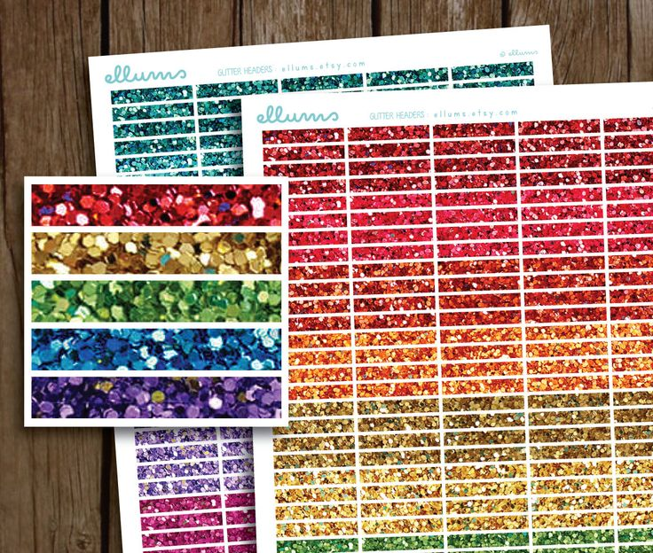 Glitter Daily Headers Planner Stickers | PRINTABLE Instant