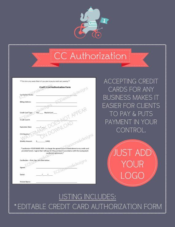 CREDIT CARD AUTHORIZATION form: Small Business / Start-up