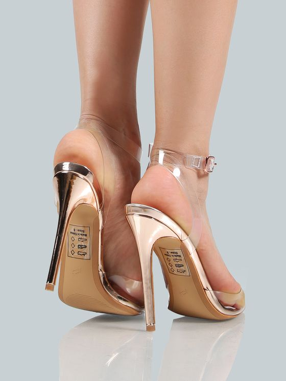 Online shopping for Clear Closed Toe Ankle Strap Heel ROSE GOLD from a great selection of women's fashion clothing & more at MakeMeChic.COM.