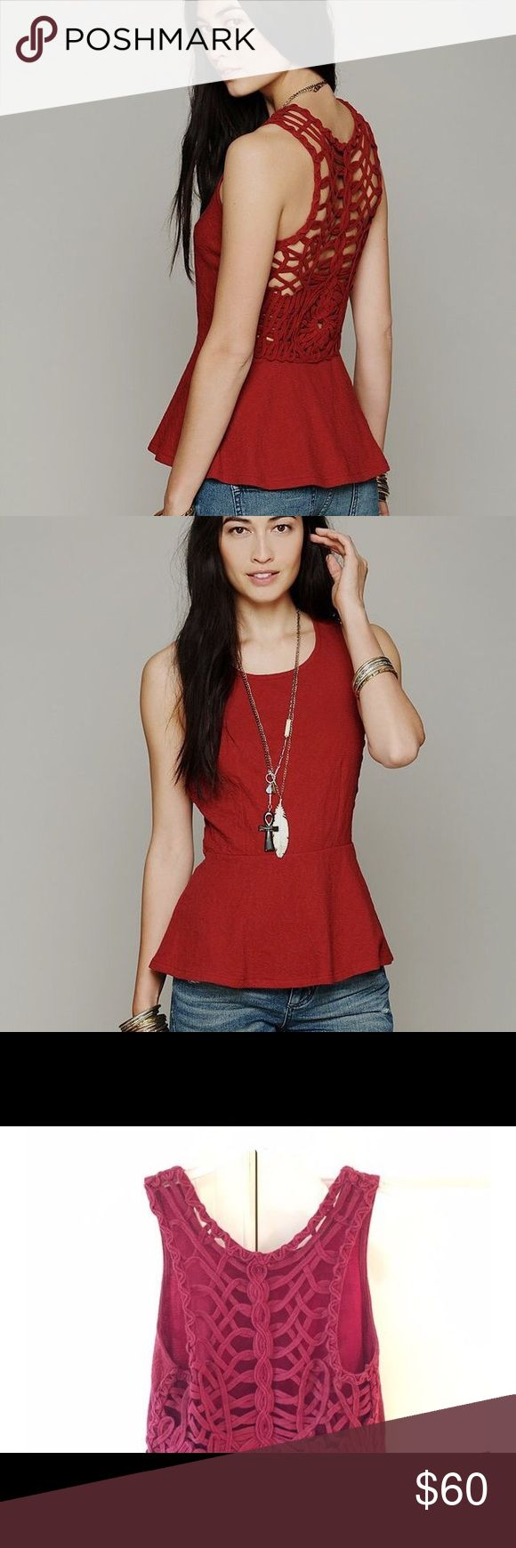 Free People red peplum top Gorgeous Free People red peplum top with intricate woven lace back detail. Perfect for going out in and making a statement. Worn only a handful of times and still in like-new perfect condition. Free People Tops Blouses