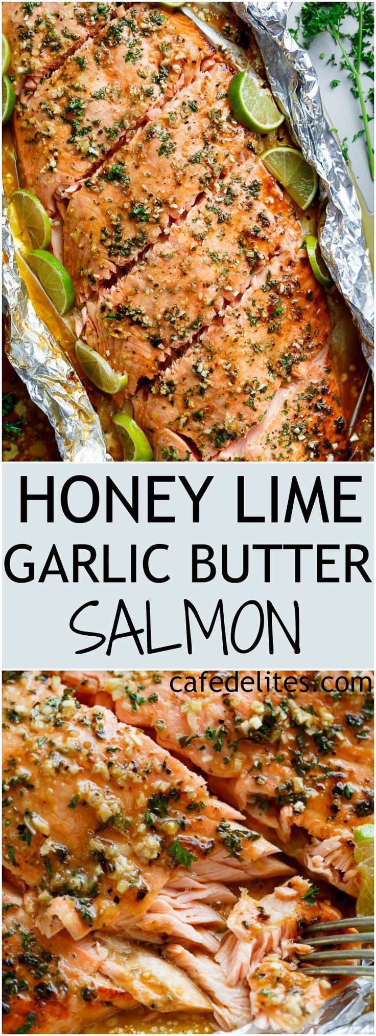 Honey Lime Garlic Butter Salmon in foil Is ready in under 30 MINUTES! Caramelized on the outside and falling apart tender on the inside!   https://cafedelites.com