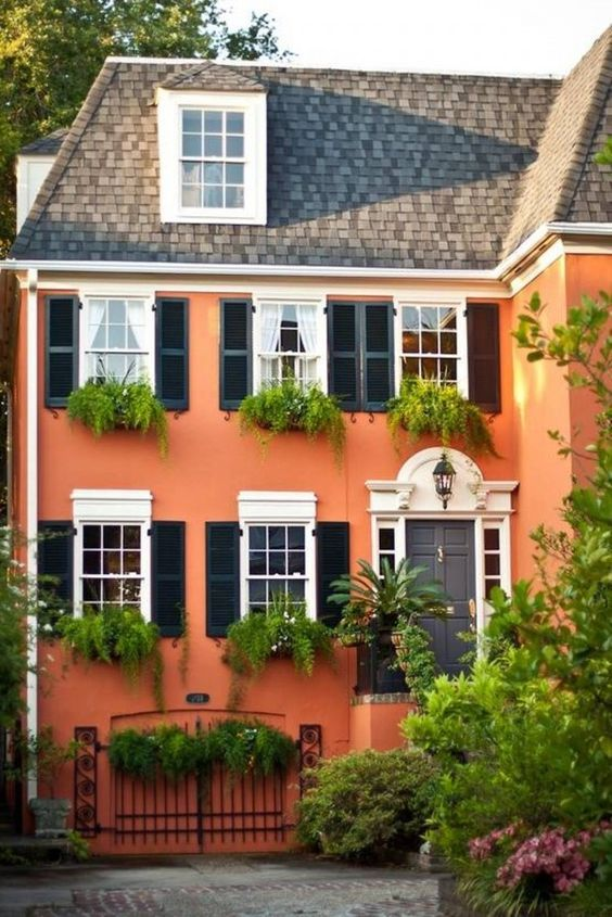 Orange exterior house paint color combinations house for Stucco house paint colors