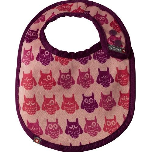 Babero reversible bebé Close parents Pink owl
