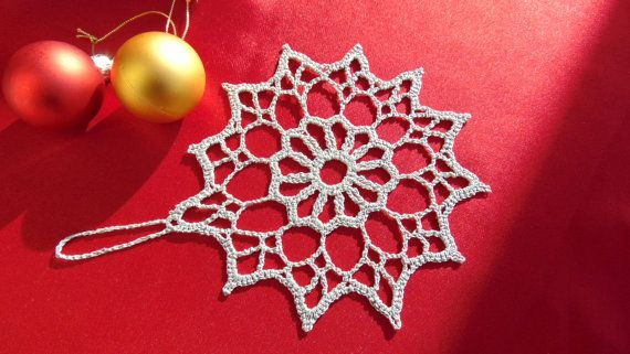 3 Silver Snowflakes Christmas Ornaments Gold Red by MaddaKnits