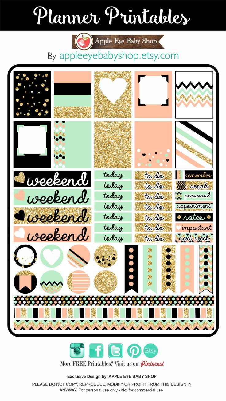 I have something for you... FREE Planner PRINTABLES! Gold Glitter, Black, Peach, Mint. DOWNLOAD, PRINT & CUT. Great in your Filofax, Erin Condren, Life Planner, Agendas, Notecards, Labels, Notebooks, Stationary, Journals, Organizing Labels, Scrapbooking, Plum Paper. DIY Crafts, Cricut or Silhouette Projects & more... ENJOY! By Apple Eye Baby Shop