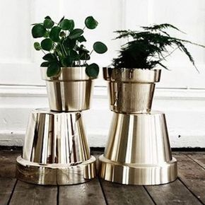 Chrome finish spray paint from Home Depot on terracotta pots