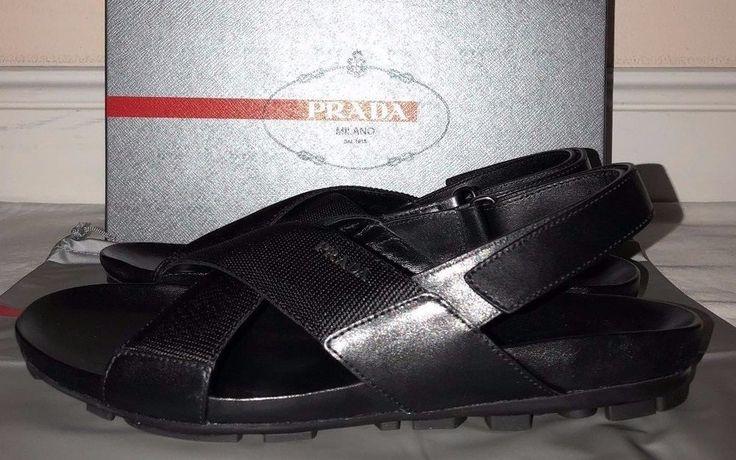 Prada Mens Nastro Nylon Black Ribbon Strap Back Sandals Size 9 #PRADA #FlipFlops