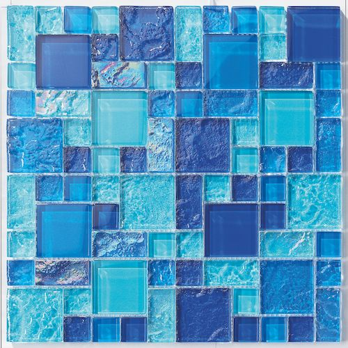 Glass Pool Mosaic Tile Vieques Blend for swimming pool, shower walls, backsplash, Jacuzzi, and spa. Made with translucent glass for a better reflection effect under water. This mosaic tile is mesh mou #modernpoolandspa