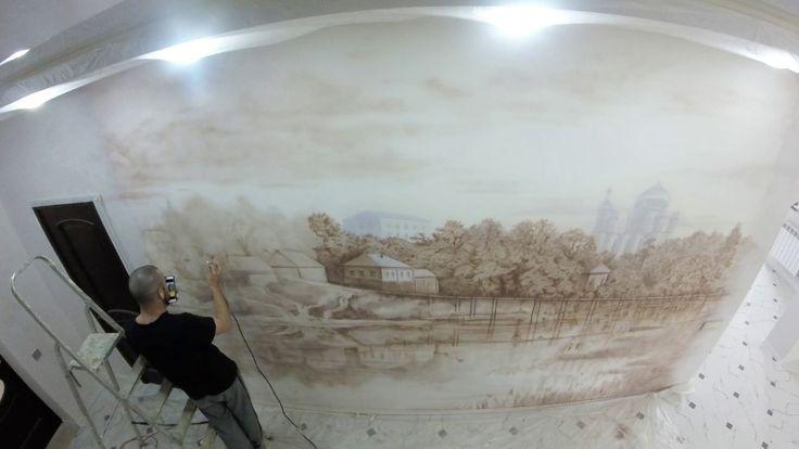 Аэрография в интерьере,роспись стен