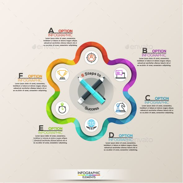 Colorful Flat Line Infographic