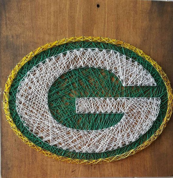 Packers football string art greenbay   Check out this item in my Etsy shop https://www.etsy.com/listing/242767250/green-bay-packer-string-art