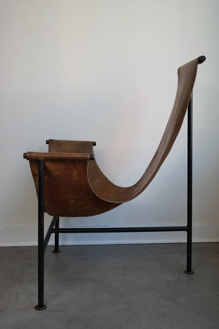 Modern sling chairs - Worn Leather And Iron Sling Chair