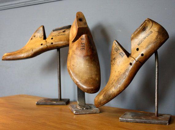 Vintage Antique Shoe Lasts Forms On Stands by Ottosnongeneralstore
