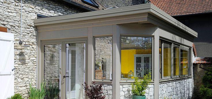 Modèle véranda toiture plate | Emma, une belle véranda au dôme vitré | Maisons de pierre, Vitre ...