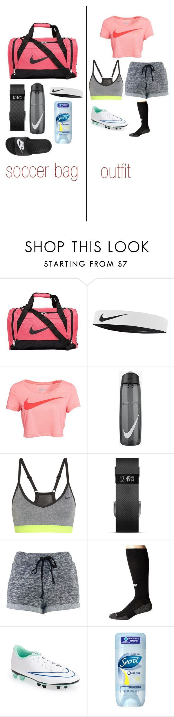 """soccer outfit and bag essentials"" by cass-mccullough ❤ liked on Polyvore featuring NIKE, Fitbit and New Balance"