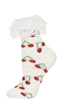 **Cherry Frill Ankle Socks by Meadham Kirchhoff - Meadham Kirchhoff  - Clothing