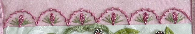 I ❤ embroidery . . . TAST Week 66 - Coral Stitch + #68 - Slipped Detached Chain- I used #5 silk perle for the Coral Stitch arches. The Slipped Detached Chain stitch was done with a glitter yarn. 3 green stitches done with 3 strands of floss completed the stitch. ~By Susie W
