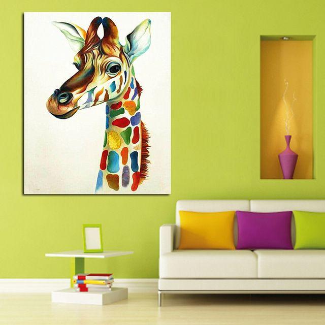 Современные Расписанную Аннотация Повесить Картины Красочные Жираф Семья Животных Современные Картины Маслом Холст Стены Аватар Home Decor