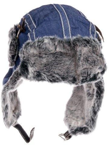 dec7d7ef574 City Hunter Denim Trapper Bomber Cap Hat w  Faux Fur (Navy Blue ...