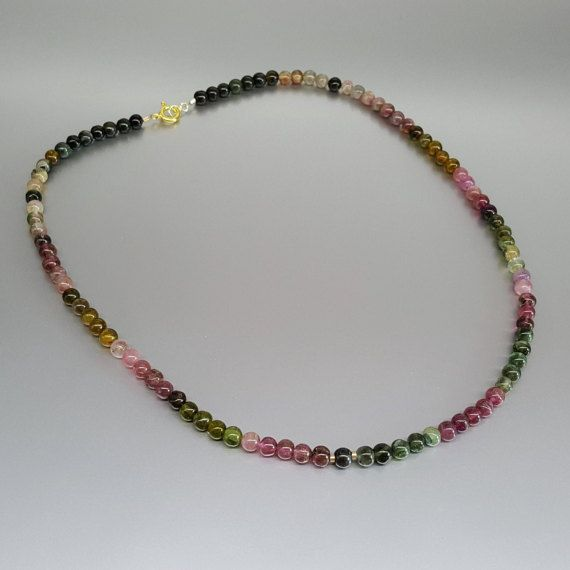 Beaded Watermelon Tourmaline Necklace with 14K gold plated elements - gift idea by gemorydesign. Explore more products on http://gemorydesign.etsy.com
