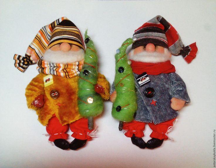 Купить Ёлочные гномы. - ярко-красный, ёлочные игрушки, Новый Год, гном, авторская кукла