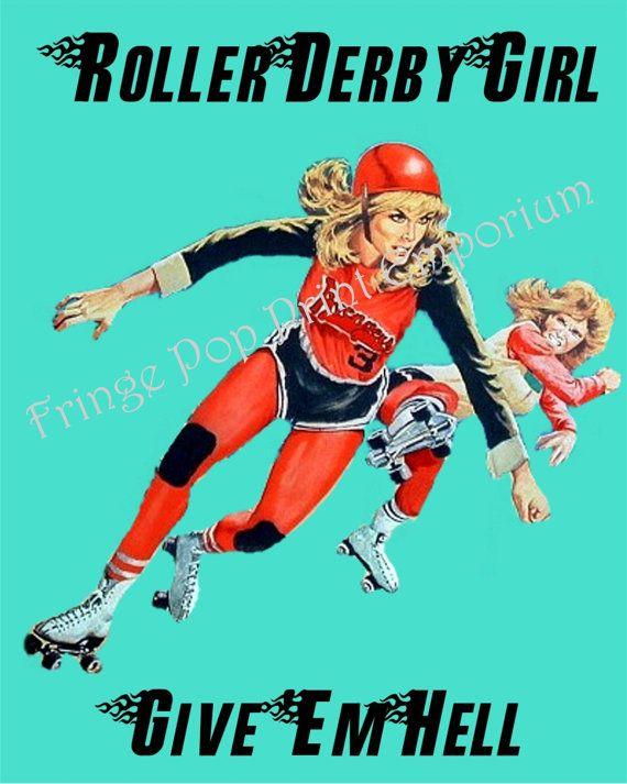 Roller-Derby-Kunstdruck 8 x 10 - zeig Em - Roller Skating - Derby Mädchen - Pin Up Retro