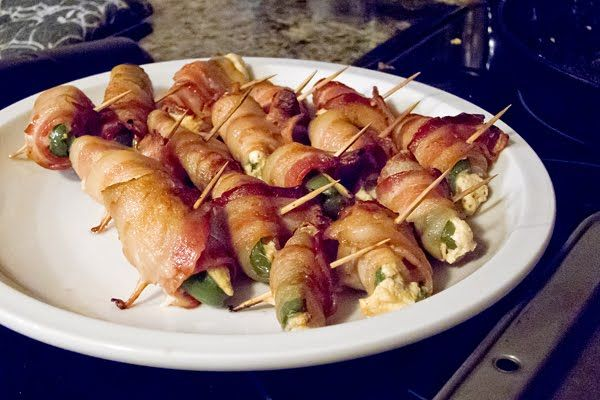 "Bites"" appetizer recipe (bacon-wrapped jalapeños stuffed with cream ..."