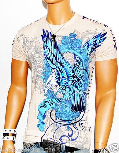 Mens Noble Flight Eagle Tan Designer T Shirt Muscle MMA UFC Stitching WOW   eBay
